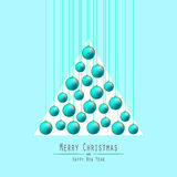 Christmas Tree. Handing Balls. Green. Royalty Free Stock Images
