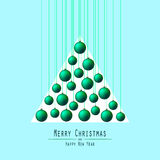 Christmas Tree. Handing Balls. Green. Royalty Free Stock Photos