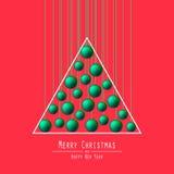 Christmas Tree. Handing Balls. Green. Royalty Free Stock Photo