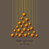 Christmas Tree. Handing Balls. Orange. vector illustration