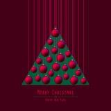Christmas Tree. Handing Balls. Red. stock illustration