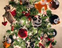 Christmas tree handmade animal decoration Stock Image