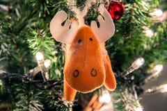 Christmas tree handmade animal decoration Stock Photos