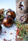 Christmas tree handmade heavy glass balls and candlelight, decor Royalty Free Stock Image