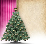 Christmas tree and handmade paper sheet Royalty Free Stock Photography