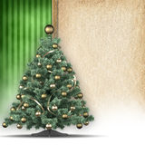 Christmas tree and handmade paper sheet Royalty Free Stock Photos