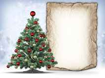 Christmas tree and handmade paper sheet Royalty Free Stock Image