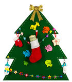 Christmas tree with handmade toys , stocking full of dollars Royalty Free Stock Photo