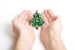 Christmas tree in hands. Plasticine Christmas tree with hands on white background stock photos