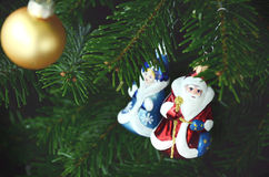 Christmas tree hanging decoration in russian tradition. With Father Frost  on green background Stock Images