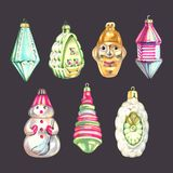 Christmas tree hanging ornaments, glass balls design elements, isolated on white background, watercolor illustration