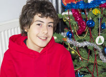 Christmas tree and happy boy portrait Stock Photography