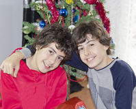 Christmas tree and happy boys  portrait Royalty Free Stock Images
