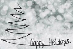 Christmas Tree, Happy Holidays, Dark Gray Bokeh Background stock illustration