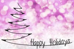 Christmas Tree, Happy Holidays, Purple Bokeh Background royalty free stock photography