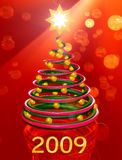Christmas tree - Happy new year 2009. Christmas tree on the red background stock illustration