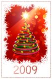 Christmas tree - Happy new year 2009. Christmas tree on the red background vector illustration