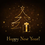 Christmas tree Happy New Year gold background Stock Photography