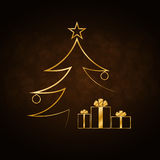 Christmas tree Happy New Year gold background Royalty Free Stock Photography