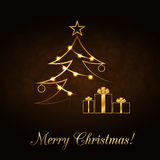 Christmas tree Happy New Year gold background Stock Photos
