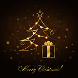 Christmas tree Happy New Year gold background Royalty Free Stock Image