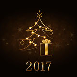 Christmas tree Happy New Year gold background. Happy New Year and Merry Christmas celebration background, gold Xmas tree. Decorative golden gift box, numbers stock illustration