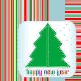 Christmas tree with Happy New Year greetings Stock Photos