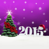 Christmas tree happy new year 2015 pink. Christmas tree happy new year 2015 Stock Photos