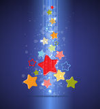 Christmas tree and happy new year with stars Stock Photo