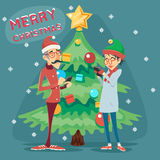 Christmas Tree Happy Smiling Male Female Geek Hipster Symbol Online Mobile Chat Icon on Stylish Background Retro Cartoon Royalty Free Stock Photo