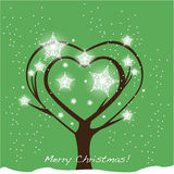 Christmas tree heart shape. Card Stock Image