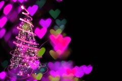 christmas tree and hearts Stock Image