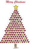 Christmas Tree With Hearts stock images