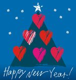 Christmas tree with hearts. In white, red, purple, blue, green colors a seamless pattern on a blue background. Happy New Year Stock Image