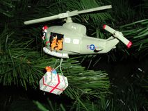 CHRISTMAS TREE AND HELICOPTER. THIS WAS TAKEN OF OUR CHRISTMAS TREE AND ORNAMENTS ON THE TREE Stock Photos