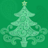 Christmas Tree Henna Mehndi Doodle Vector. Hand-Drawn Abstract Henna Mandala Mehndi Tattoo Paisley Christmas Tree and Swirls Design Elements- Vector Illustration Stock Image