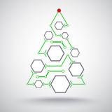 Christmas tree hexagonal cells. Christmas tree in the form of interconnected hexagonal cells Stock Photo