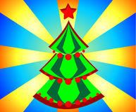 Christmas tree. Holiday card on the background lights. Illustration Royalty Free Stock Photo