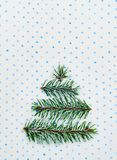 Christmas tree holiday card on dotted background Stock Images