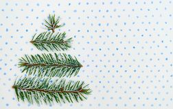 Christmas tree holiday card on dotted background Stock Image