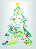 Christmas tree holiday grunge paint splatter. A Christmas tree splatter shape of  paint drops as decoration ornaments on an abstract holiday painting Stock Photography