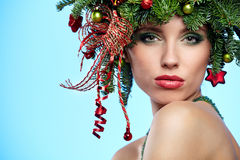 Christmas Tree Holiday Hairstyle and Make Royalty Free Stock Images