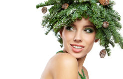 Christmas Tree Holiday Hairstyle and Make Stock Photography