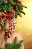 Christmas Tree Holiday Hairstyle and Make Stock Photos