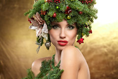 Christmas Tree Holiday Hairstyle and Make Stock Image
