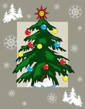 Christmas Tree. Holiday illustration, postcard, banner, background with bright Christmas Tree on a grey background Stock Image
