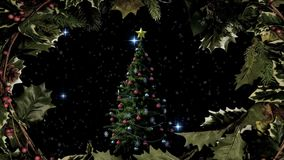 Christmas tree and holly border with stars royalty free illustration