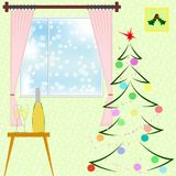 Christmas tree, holly, decoration and champagne. Flat style vector. A New Year room interior with fir. Christmas tree, holly, decoration and champagne. Flat Royalty Free Stock Photography