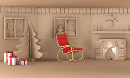 Christmas tree in home living room with fire place 3d render Stock Photos