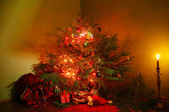 CHRISTMAS TREE AT HOME Stock Images